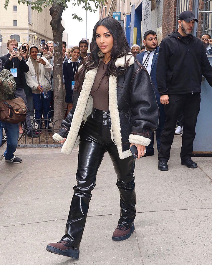 Mrs. West is the goddess blessing us w/ a leather fluffy jacket.