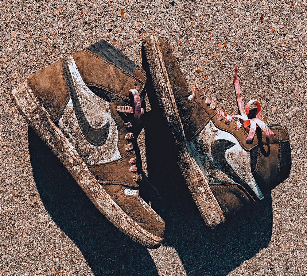 HIGHEST IN THE MUD — How @rocky_brown almost destroyed his Travis Scott Air Jordans at astroworld.
