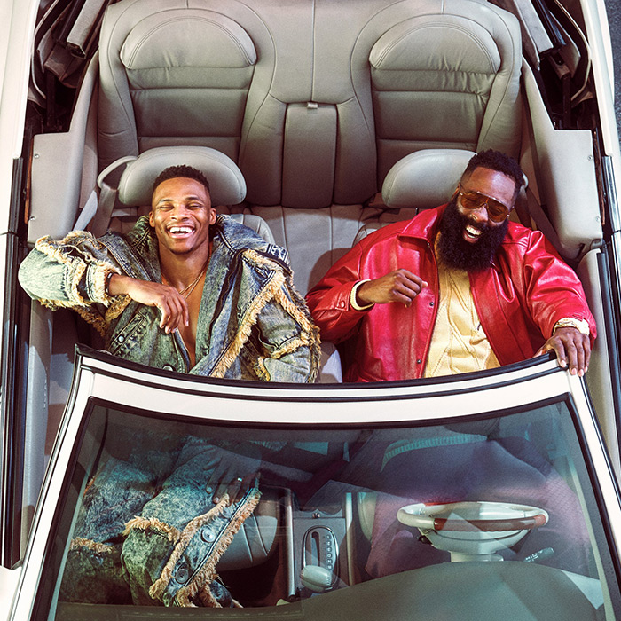 @russwest44 x James Harden the NBA duo we want to be part of are sending brodies vibe — 'cause they're always dropping dimes from tunnel style to fast cars 🚀