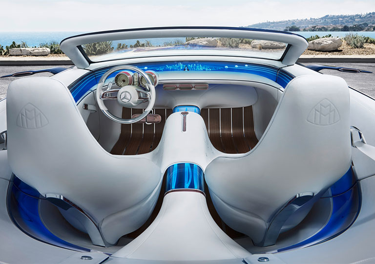 Full luxury driving experience on neon + white leather interior of Vision Mercedes-Maybach 6 Cabriolet