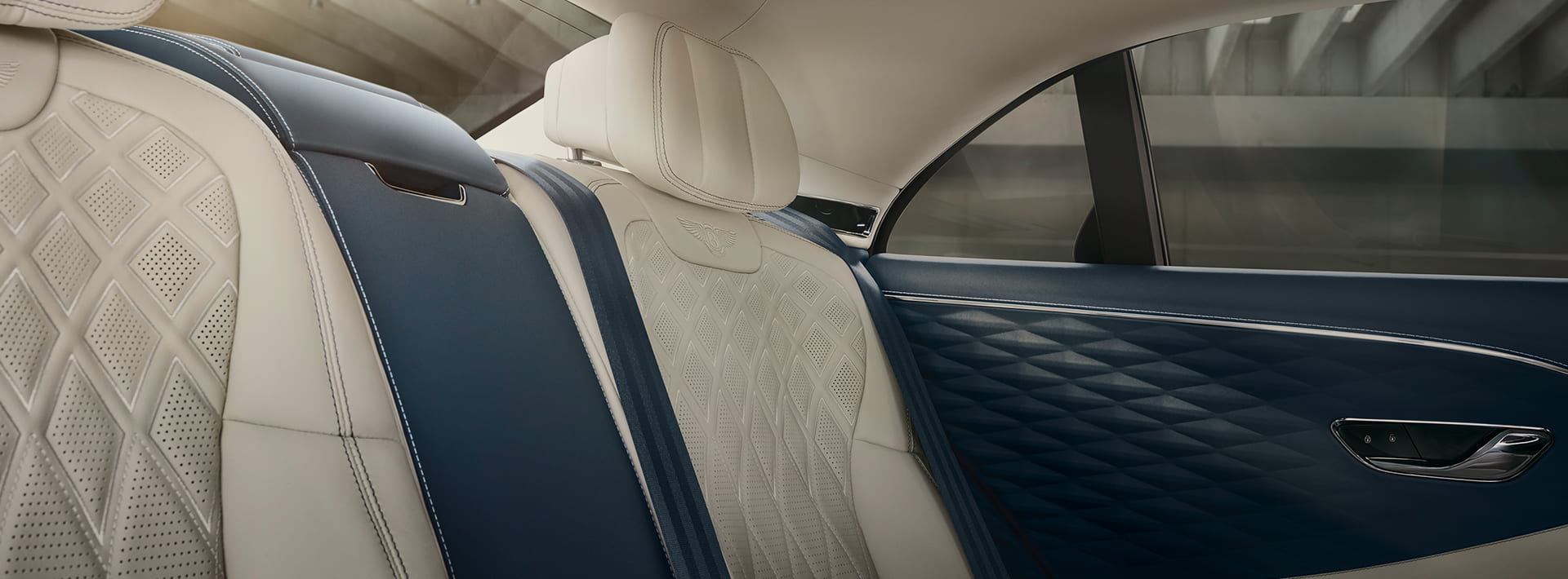 Unmatched leather interior with massage seats in Bentley's new Flying Spur.
