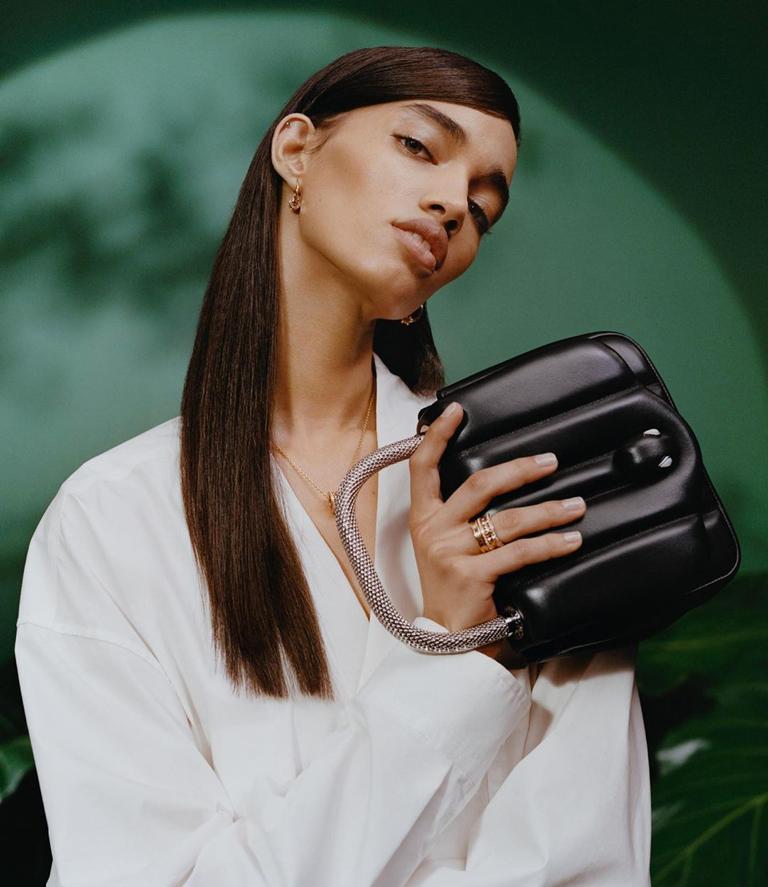 Bulgari x Ambush Design アンブッシュデザイン campaign just released starring Bella Hadid, 雎晓雯, Ellen Rosa and a few snakes.