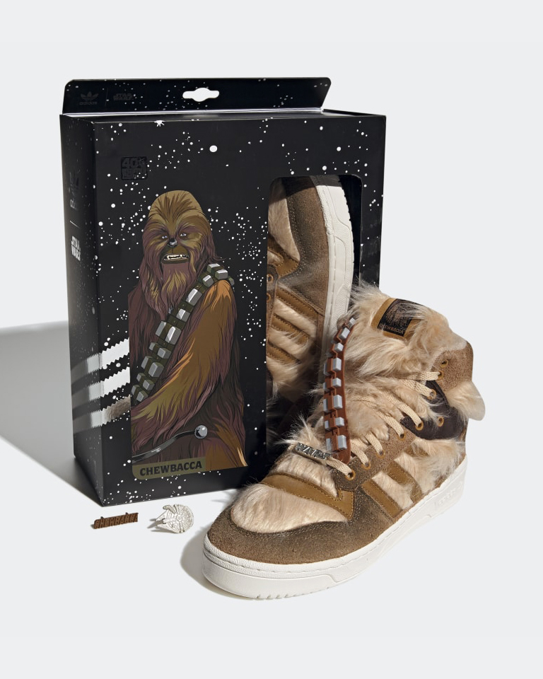 This Star Wars x adidas Rivalry hi sneakers are an ode to oourrrhhhgghh favorite SW character: Chewbacca.