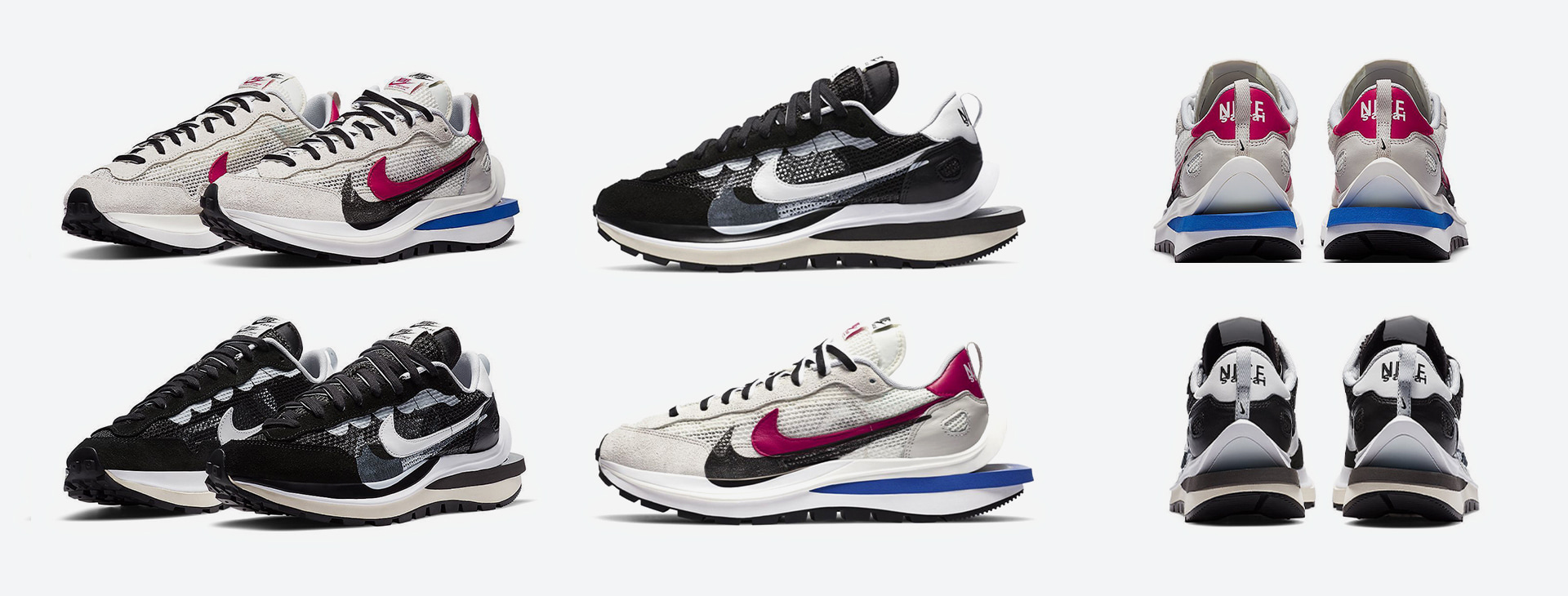 Official shots of the new Nike x Sacai Vaporwaffleare out now: the suede sneakers are releasing next month.