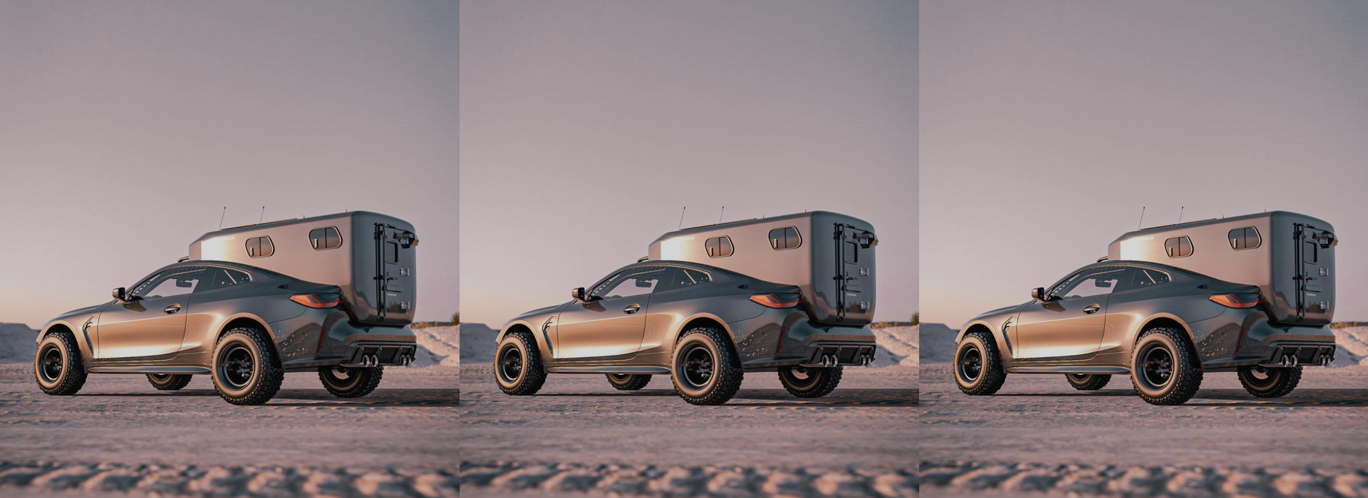 This concept for a BMW M4 Camper by BradBuilds adds a bed, kitchenette & solar panels to the original luxurious leather interior.