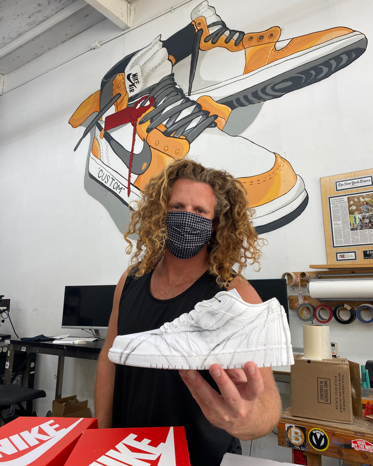 Blake Barash's background in street art & skate is all over his hand-painted kicks.