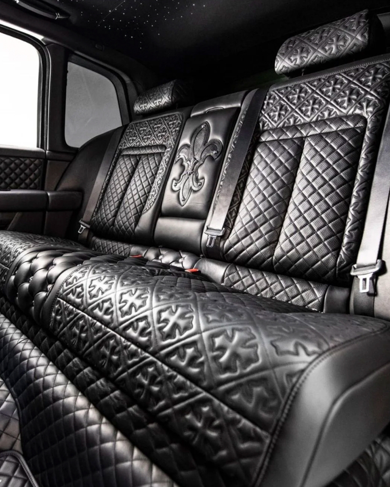 A closer look at the customized interior dipped in quilted leather with fleur-de-lis studs.