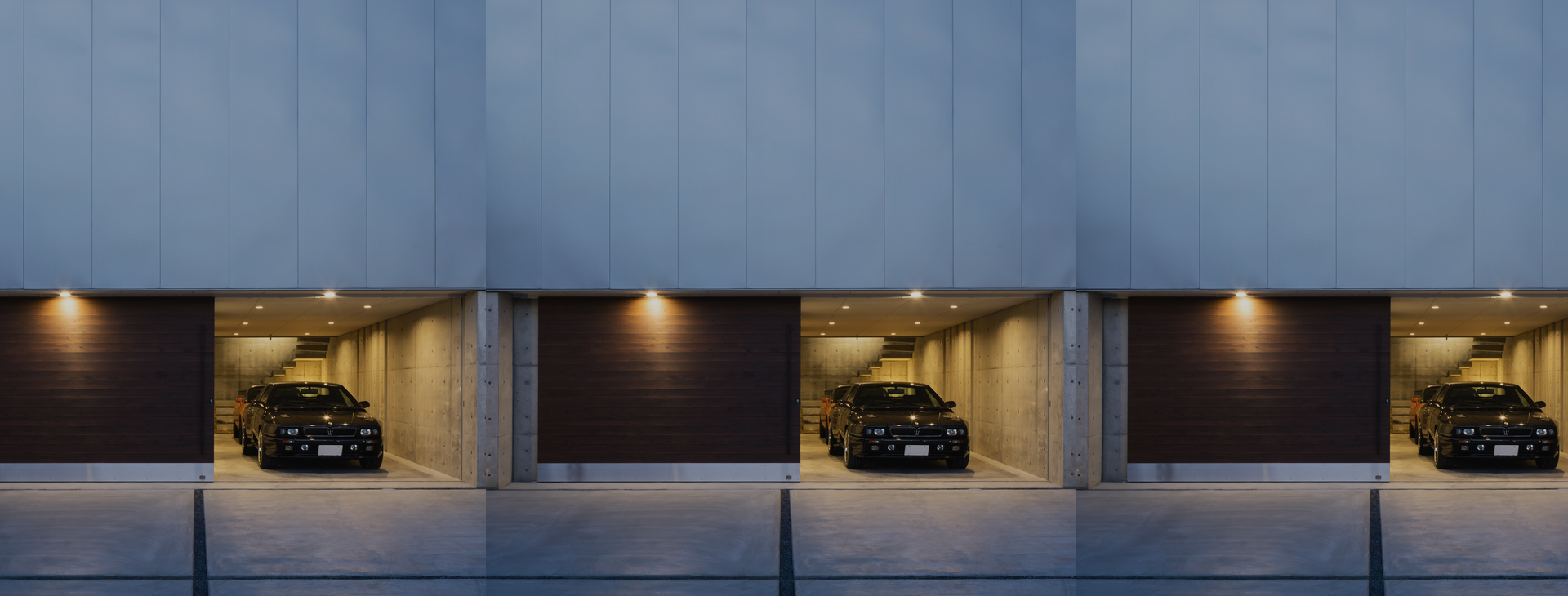 Created by Horibe Associates, the client can see his cars from the bedroom and enjoy a quiet moment on the second floor.