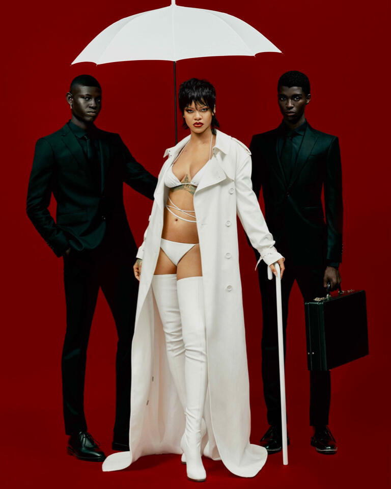 Surreal shoes with metal fingers by Schiaparelli, lace-up leather boots by Dsquared2, and gloves by Handsome Stockholm were also part of Rih Rih's reality.