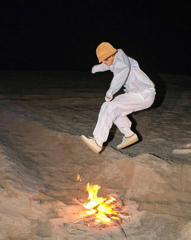 METCHA - Clarks' suede craftsmanship - guy wearing suede Wallabees while jumping.